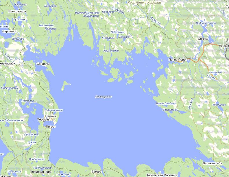Карта глубин сегозера скачать