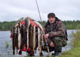рыбак с выловленными щуками