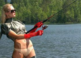 девушка спиннинг водоем река озеро