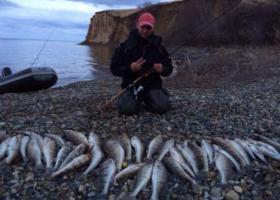 рыбак с уловом на Волгоградском водохранилище