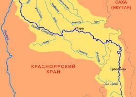 Река Нижняя Тунгуска на карте России