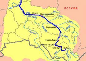 Река Обь на карте Росиии