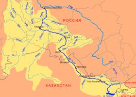 река Иртыш на карте России