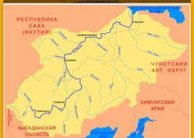 Река Колыма на карте России