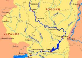 Река Дон на карте России