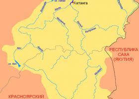 река Хатанга на карте России