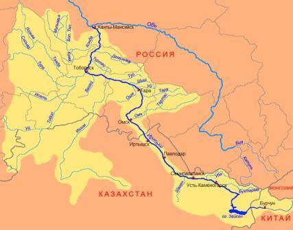 Иртыш на карте России