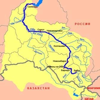 Обь на карте России