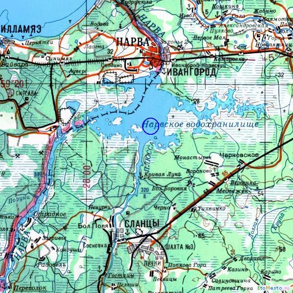 водохранилище карта