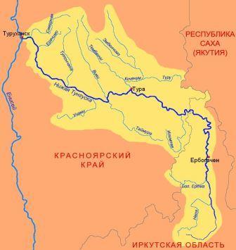 Нижняя Тунгуска на карте России